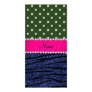 Name forest green diamonds zebra navy blue glitter customized photo card