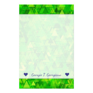 "Name + ""Forest"" of Green Triangle Shapes Pattern Stationery"