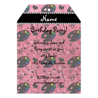 name fuchsia pink glitter painter palette brushes 13 cm x 18 cm invitation card