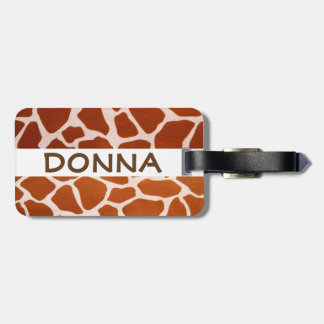 Name Giraffe Safari Print Luggage Tag