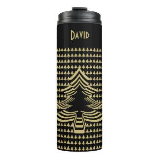Name: Gold and Black Christmas Tree Font Art Thermal Tumbler