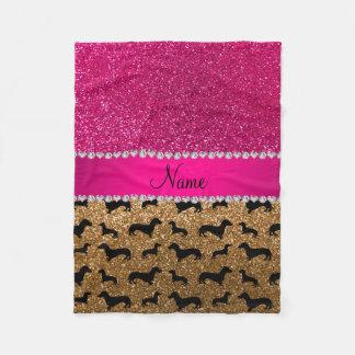 Name gold glitter dachshunds pink glitter fleece blanket