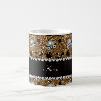 Name gold glitter princess crowns wand stars basic white mug