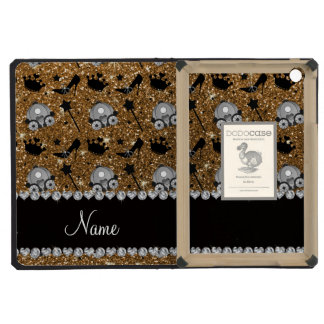 Name gold glitter princess crowns wand stars iPad mini cover