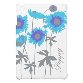 Name graphic white & blue poppies floral mini case iPad mini cover