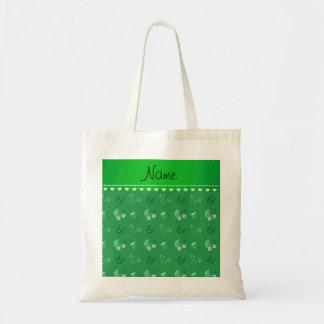 Name green baby bib blocks carriage booties budget tote bag