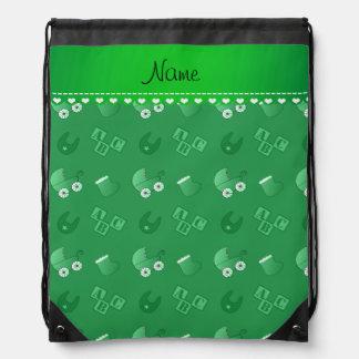 Name green baby bib blocks carriage booties rucksacks