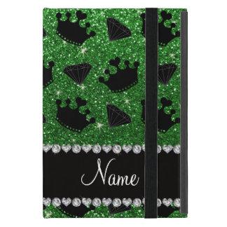 Name green glitter princess crowns diamonds cases for iPad mini