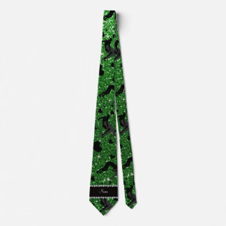 Name green glitter wrestling hearts bows tie