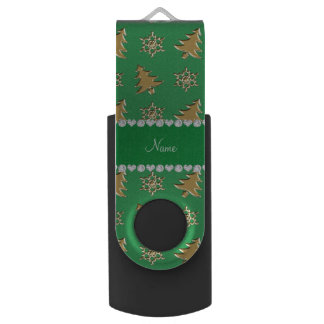 Name green gold christmas trees snowflakes swivel USB 2.0 flash drive
