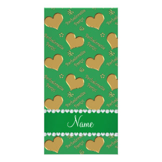 Name green gold hearts bachelorette party customised photo card