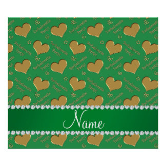 Name green gold hearts bachelorette party poster