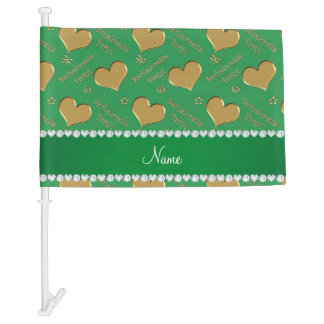 Name green gold hearts bachelorette party car flag