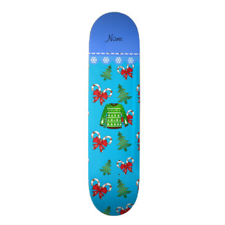 Name green ugly christmas sweater blue candy canes 19.7 cm skateboard deck