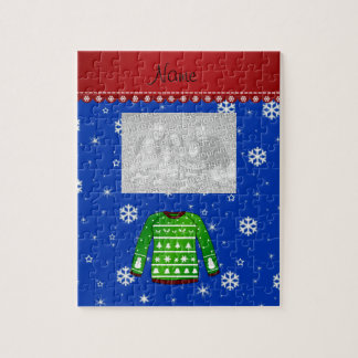 Name green ugly christmas sweater blue snowflakes puzzles