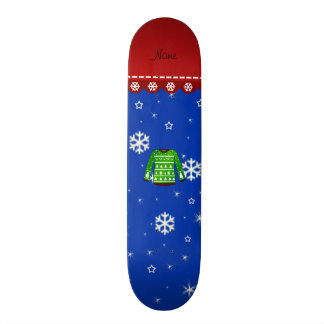 Name green ugly christmas sweater blue snowflakes skateboard