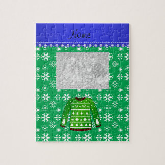 Name green ugly christmas sweater green snowflakes puzzle