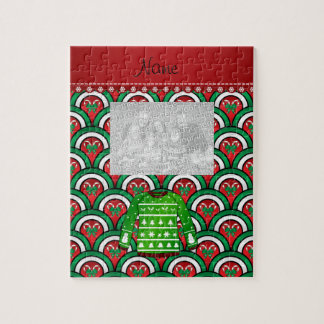 Name green ugly christmas sweater half circles jigsaw puzzle
