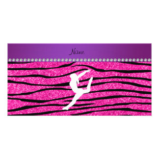 Name gymnast neon not pink glitter zebra stripes picture card