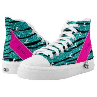 Name gymnast turquoise glitter zebra stripes high tops