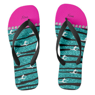 Name gymnast turquoise glitter zebra stripes thongs