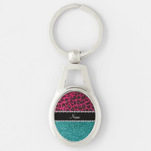 Name hot pink glitter leopard turquoise glitter keychain