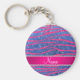 Name hot pink zebra stripes blue glitter keychains