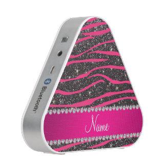 Name hot pink zebra stripes dark gray glitter speaker
