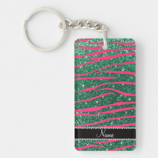 Name hot pink zebra stripes mint green glitter key chain