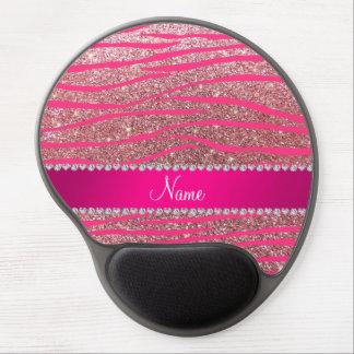 Name hot pink zebra stripes pastel pink glitter gel mouse mats