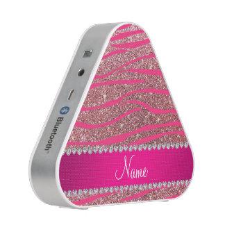 Name hot pink zebra stripes pastel pink glitter bluetooth speaker