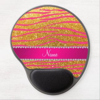 Name hot pink zebra stripes yellow glitter gel mousepad
