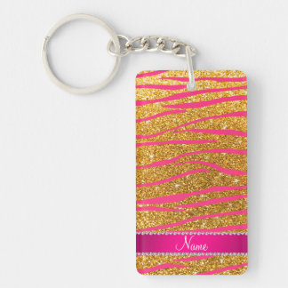 Name hot pink zebra stripes yellow glitter key chains