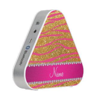 Name hot pink zebra stripes yellow glitter bluetooth speaker