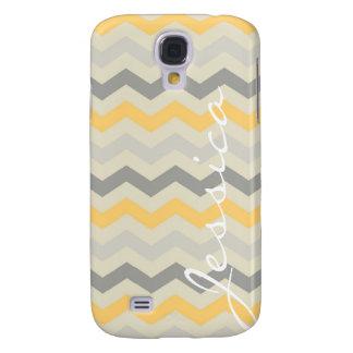 Name id gray yellow chevron zigzag zig zag pattern galaxy s4 covers