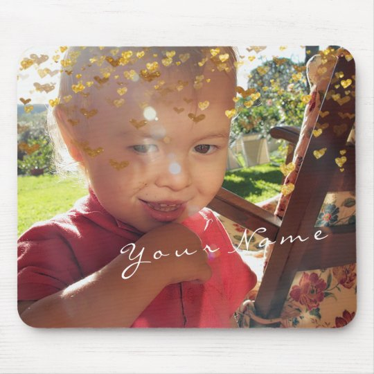 Name Imagine Photo Golden Confetti Hearts Gold Mouse Pad