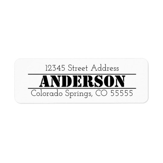Name in Centre - Return Address Label