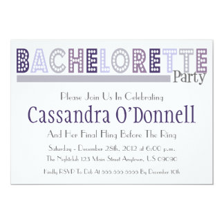"Name In Lights Bachelorette Party Invites (Gray) 5"" X 7"" Invitation Card"