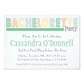 """Name In Lights Bachelorette Party Invites (Green) 5"""" X 7"""" Invitation Card"""
