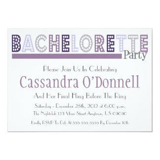 "Name In Lights Bachelorette Party Invites (Purple) 5"" X 7"" Invitation Card"