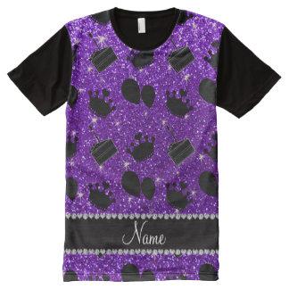 Name indigo purple glitter crowns balloons cake All-Over print T-Shirt