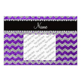 Name indigo purple silver glitter chevrons photo print