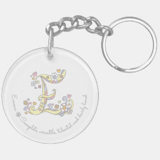 Name initial E girls personalized keychain