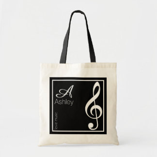 name, initial & white treble clef, music black tote bag