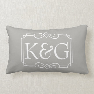 Name initials design lumbar pillow