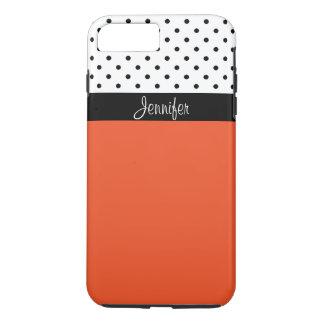 Name It! Tangerine T, Black White Dots Color Block iPhone 8 Plus/7 Plus Case