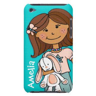 Name kid girl cuddles aqua peach ipod case iPod touch cover