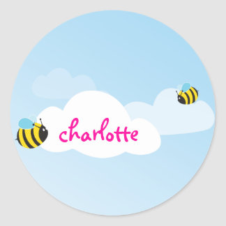 NAME LABEL :: bees in the sky 1 Round Sticker