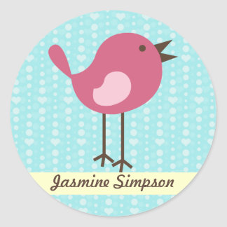 Name Labels/Stickers Pink Bird - Blue Heart Design Round Sticker
