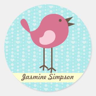Name Labels/Stickers Pink Bird - Blue Heart Design Round Sticker